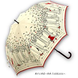 【丈夫】 傘専門店 通販 東京 雨傘 人気 レディース ワンタッチ ジャンプ  グラスファイバー 旅傘【グラス骨 赤ずきん White】