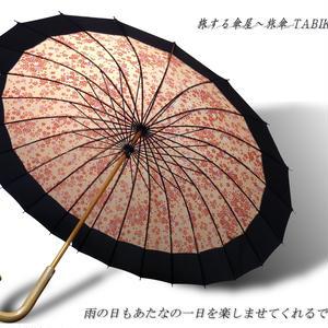 UVカット93% 傘専門店 通販 東京 雨傘 晴雨兼用 日傘 雨傘  サビにくい 黒骨 旅傘【 満開の桜 24本骨 サーモンピンク色 】