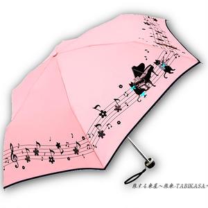 【風速25mまで耐える】傘専門店 通販 東京 折りたたみ 雨傘 グラスファイバー サビない 旅傘 【耐風 猫ちゃんとピアノ Pink】