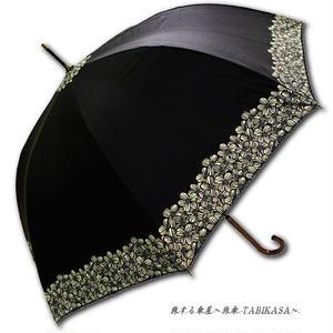 【2/3まで遮熱】 傘専門店 通販 東京 日傘 雨傘 晴雨兼用 ワンタッチ ジャンプ グラスファイバー 軽量 サビない 旅傘 【Blackコート  Gardenflower BLACK】