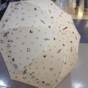 ドーム型 傘専門店  通販  東京  雨傘 人気 レディース ワンタッチ  ジャンプ  サビにくい  黒骨  旅傘  【ラメ入り  ハート音符 White】