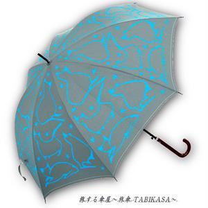 【丈夫】 傘専門店 通販 東京 雨傘 人気 レディース ワンタッチ ジャンプ  グラスファイバー 旅傘【グラス骨 CatSilhouette Gray】