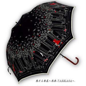 【丈夫】 傘専門店 通販 東京 雨傘 人気 レディース ワンタッチ ジャンプ  グラスファイバー 旅傘【グラス骨 赤ずきん Black】