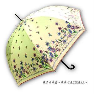 【2/3まで遮熱】 傘専門店 通販 東京 日傘 雨傘 晴雨兼用 ワンタッチ ジャンプ グラスファイバー 軽量 サビない 旅傘 【Blackコート  Windflower Beige】