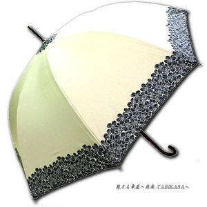 【2/3まで遮熱】 傘専門店 通販 東京 日傘 雨傘 晴雨兼用 ワンタッチ ジャンプ グラスファイバー 軽量 サビない 旅傘 【Blackコート  Gardenflower White】