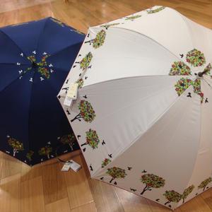 【-18~19℃】傘専門店 通販 東京 日傘 晴雨兼用 サビにくい 黒骨 遮光 遮熱 旅傘【ドームStyle 小鳥と猫 White】