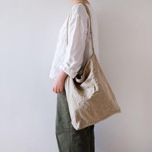 linen shoulder bag (編み紐)