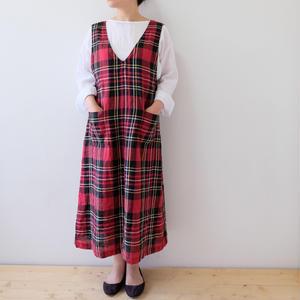 check-linen one piece dress(ジャンパースカート)