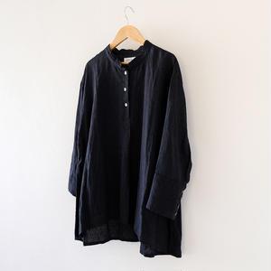 リネンプルオーバーシャツ(黒/立襟)/Lady's