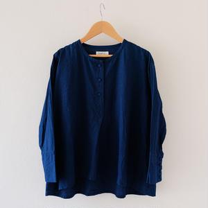 コットンシャツ(インディゴ/ノーカラー)/Lady's
