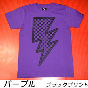 sp048tee - イナズマ Tシャツ - BPGT -G-  ROCK ロックTシャツ 稲妻  チェッカー パープル ホワイト ブラック 半袖