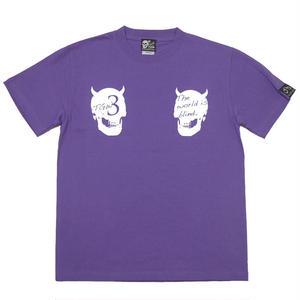 tgw039tee-pu - World is blind. Tシャツ ( V.パープル )-G- 半袖 パンクロック スカル ドクロ 骸骨 紫色