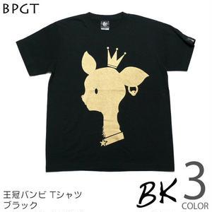 予約販売中☆ sp001tee - 王冠バンビ Tシャツ(ブラック)-G-( BAMBI 子鹿 ロゴマーク POP オリジナルTシャツ )
