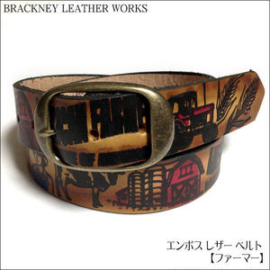 squ5307-34 - エンボス レザー ベルト( ファーマー ) -BRACKNEY LEATHER WORKS-G- 農業 アメリカ製 本革 アメカジ カジュアル メンズ ユニセックス