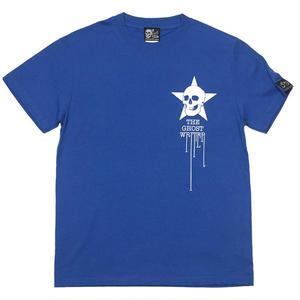 tgw017tee-rb - スカルスター Tシャツ (ロイヤルブルー)-G- 半袖 ロックTシャツ スカル ドクロ 骸骨 星柄 青色