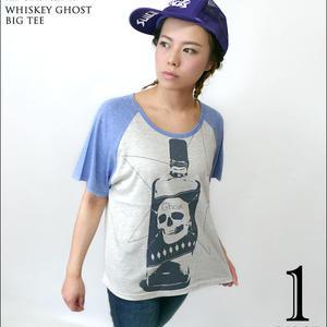 tgw032grg - Whiskey Ghost ラグラン ガールズ ビックTシャツ - The Ghost Writer -G- パンク ロックTシャツ スカル ドクロ
