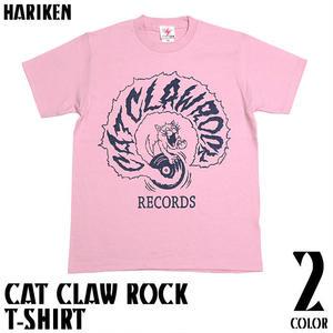 har016tee - CAT CLAW ROCK(キャット クロー ロック)Tシャツ(ピーチ) - HARIKEN -G-( ネコ ロック バンド レコード 半袖 )
