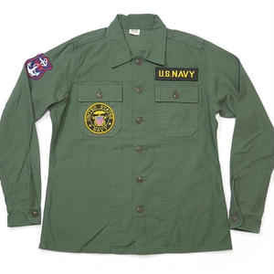 usfs-ny15 - USタイプ OG-107 ファティーグシャツ (NAVY ワッペン)【レプリカ】-G- 米軍 ミリタリー 海軍 ネイビー 長袖 オリーブ アメカジ