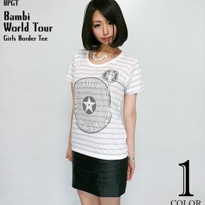 sp004bgt - Bambi World Tour ガールズ ボーダーTシャツ -G- ワールドツアー ロック バンド ライブ フェス レディース 半袖