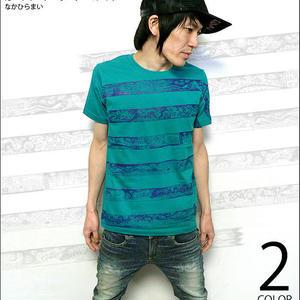 mn005tee - カートゥーン・ボーダー(ベイビー・モンスター)Tシャツ -なかひらまい- mn005tee -G- かわいい コラボ 絵本 半袖 メンズ レディース 半袖