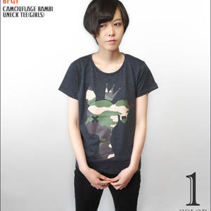 sp088ut-g - 迷彩 バンビ UネックTシャツ (ガールズ)-G- 半袖 カットソー カモフラ かわいい ロゴマーク カジュアル アメカジ