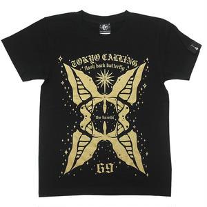 特別プライス☆ sp010tee-bk - butterfly Tシャツ (ブラック)-G- 半袖 黒色 バタフライ 蝶々 アメカジ