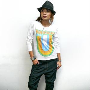 sp028lt - Rainbow Record (レインボーレコード) ロングスリーブTシャツ -G- 虹 ロゴ かわいい ロンT 長袖 メンズ レディース カジュアル