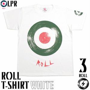 a08tee-wh - ROLL ( ロール ) Tシャツ ( ホワイト ) -G- モッズ ROCK ロックTシャツ アナログ盤 半袖 メンズ レディース