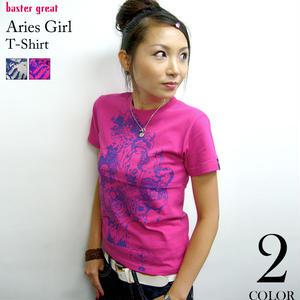 2weekセール☆ bg016tee - 牡羊座ガール ( Aries Girl ) Tシャツ - baster great -G- おひつじ座 アリエス 星座 神話 星占 イラスト 半袖