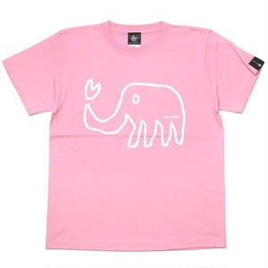 sp013tee-ivg - ゾウさん Tシャツ (ピンク)-G- 桃色 象柄 アニマル ラクガキ イラスト かわいい 半袖 綿100%