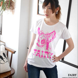 pi001gu - FAIRY (フェアリー) ガールズ UネックTシャツ -G- 半袖 パンクロックTシャツ かわいい おしゃれ ホワイト 白色