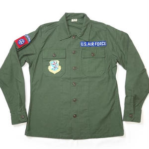 usfs-af15 - USタイプ OG-107 ファティーグシャツ (AIR FORCE ワッペン)【レプリカ】-G- 米軍 ミリタリー エアフォース 長袖 オリーブ アメカジ