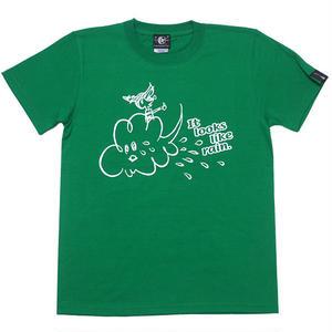 sp016tee-gr - Rain Tシャツ (グリーン)-G- 緑色 レイン 雨 イラスト 可愛い 半袖