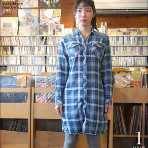 na4836-bu -インディゴチェック シャツワンピース ( ブルー )-Nanea-R- ウエスタン 長袖 カジュアル アメカジ 可愛い