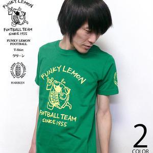 har013tee-gr - FUNKY LEMON FOOTBALL Tシャツ (グリーン)- HARIKEN -G- 半袖 緑色 レモン フットボール ラグビー イラスト