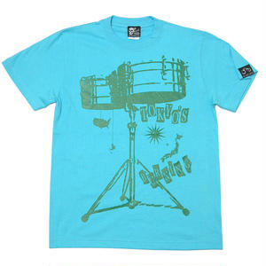 2weekセール!! tgw020tee - ワールドラム Tシャツ (アクアブルー) -G- 半袖 ドラム バンドTシャツ ロック 青 水色 Tシャツ屋さんバンビ