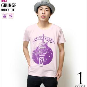 2weekセール☆ sp006ut - グランジ(grunge)UネックTシャツ -G- 半袖 ロック バンド ギター柄 カジュアル アメカジ ピンク
