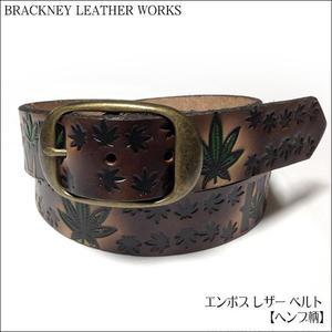 squ5307-23 - エンボス レザー ベルト( ヘンプ柄 ) -BRACKNEY LEATHER WORKS-G- HEMP柄 アメリカ製 本革 アメカジ カジュアル メンズ ユニセックス