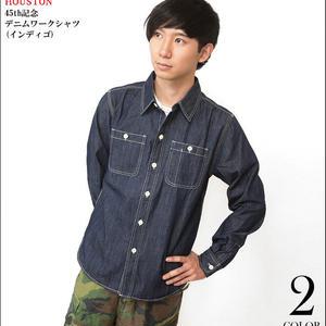 ut-40337-in - 45th記念 デニムワークシャツ ( インディゴ ) -HOUSTON- DENIM 長袖シャツ アメカジ カジュアル 紺色