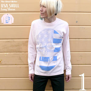 tgw019lt - USA スカル ロングスリーブ Tシャツ - The Ghost Writer -G-( ロンT 長袖 パンク ロック SKULL ドクロ アメリカ )