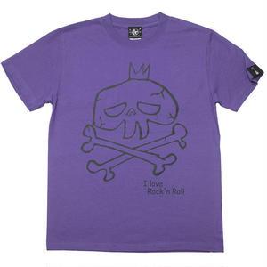 sp033tee-pu - I love Rock'n Roll(スカルLOVE) Tシャツ (V.パープル)-G- ロック ドクロ 落書き 半袖 紫色