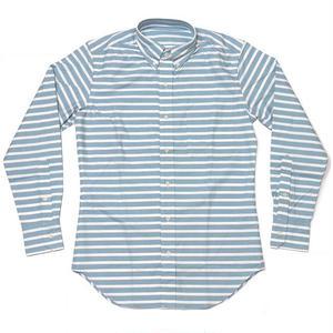 冬セール☆ sh75375-bu - オックスフォード ボーダーBDシャツ - VINTAGE EL ヴィンテージイーエル -G- 長袖 ボタンダウン カジュアル 日本製