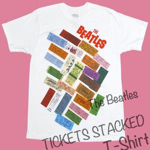 beatles-ticets - TICKETS STACKED Tシャツ - The Beatles ビートルズ -G-( USAコンサート 50周年記念 Rock ロックTシャツ バンドTシャツ )