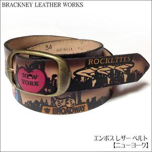 squ5307-24 - エンボス レザー ベルト( ニューヨーク ) -BRACKNEY LEATHER WORKS-G- NY 自由の女神 アメリカ製 本革 アメカジ メンズ ユニセックス