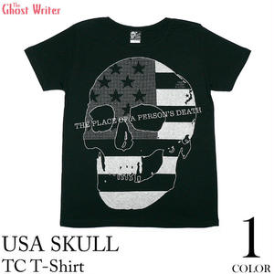 2weekセール☆ tgw019tc - USA スカル TC Tシャツ - The Ghost Writer -G- パンク ロック ドクロ アメリカ PUNK ROCK 半袖