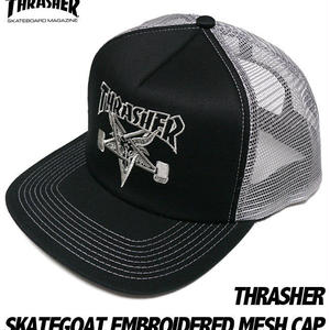 sq6527 - スケートゴート エンブロイダード メッシュキャップ -G-( スラッシャー 刺繍ロゴ 帽子 CAP )