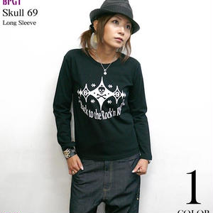 sp044lt - Back to the Rock'n Roll (スカル69) ロングスリーブTシャツ -G- ドクロ ロック R&R ロンT 長袖 ブラッック 黒色