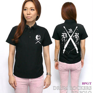 sp084-bd-po - DR-03(ドラムロッカー3)ボタンダウン ポロシャツ - BPGT -G- ( Polo ROCK ロック バンド ワンポイント ブラック 黒 半袖 )