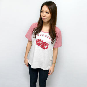 sp041grg - Paradise(パラダイス)ラグラン ガールズ ビックTシャツ -G- ダイス 賽子 ロゴ オリジナルTシャツ ポップ POP