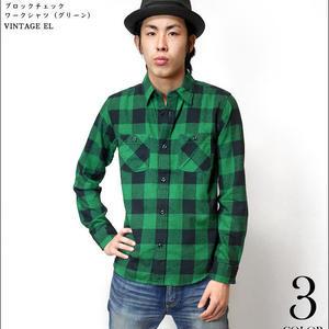 sh76802-gr53 - 20/ネル ブロックチェック ワークシャツ(グリーン)- VINTAGE EL -G- 長袖 ネルシャツ アメカジ カジュアル ロック